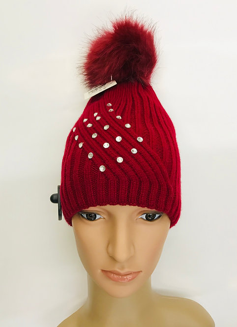 Knitting Winter Hat With 1 Ball On The Top & Stone