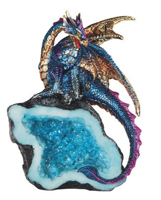 "Blue Dragon with Crystal , 5 1/2"" high"