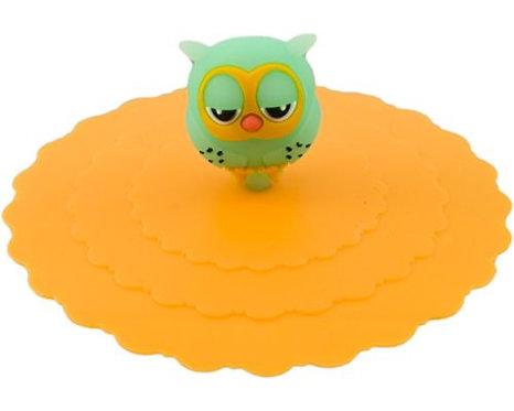"4.25""D Orange Owl Silicone Lid Cups & Mugs"
