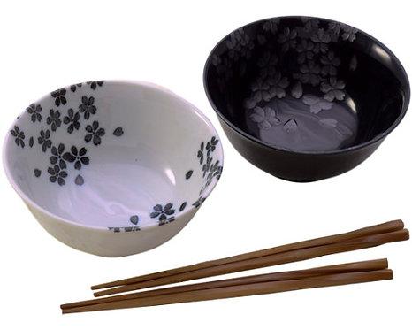 White & Black W/ Blossoms 2PCS Bowel Set W/ Chopsticks