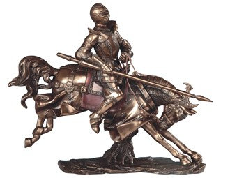 """Bronze Medieval Knight with Axe on Horse , 15"""" high"""