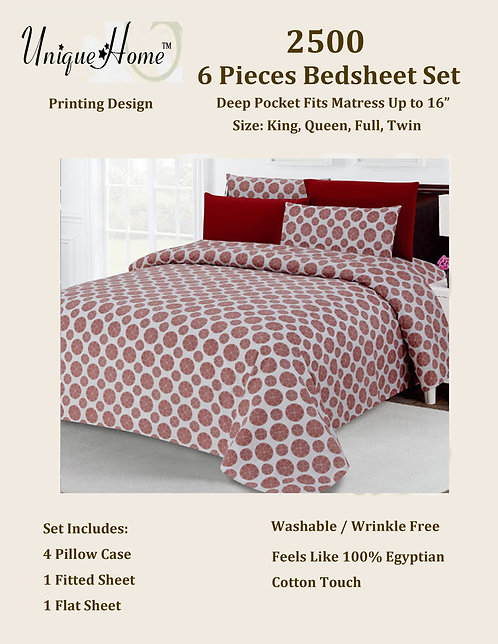 6Pcs 2500 Bedsheet Set (Queen Size)