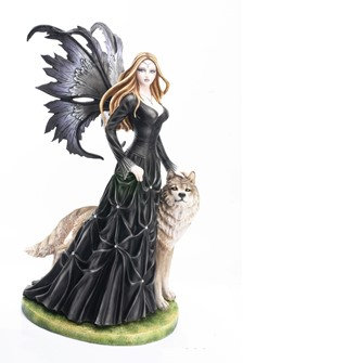"""Fairy in Black with Snow Wolf , 23"""" high"""