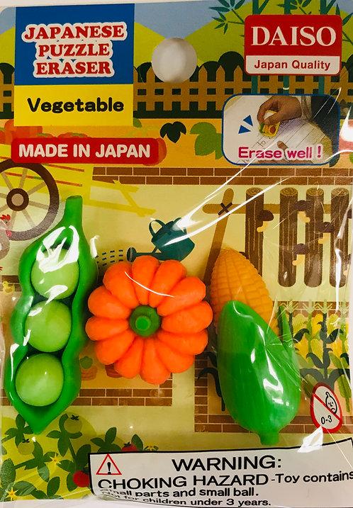 3pc Japanese Puzzle Eraser Vegetable