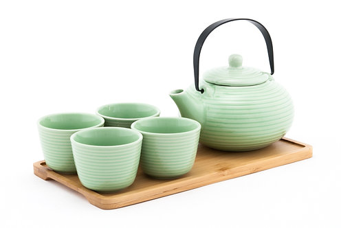 Green Ceramic Tea Set W/ Strainer & Bamboo Tray