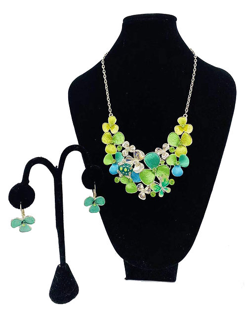 Necklace Set W/ Earrings Green Clover No#59