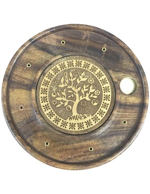 """5"""" Wooden Incense Burner Round Plate W/Star Brass Inlaid"""