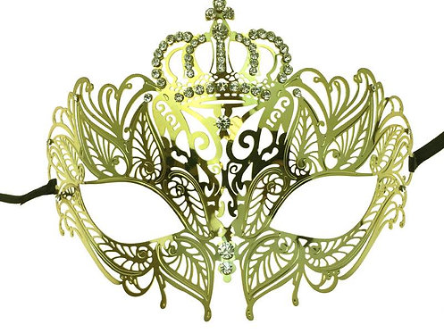 Laser-cut Metal Mask With Diamonds With Crown Gold