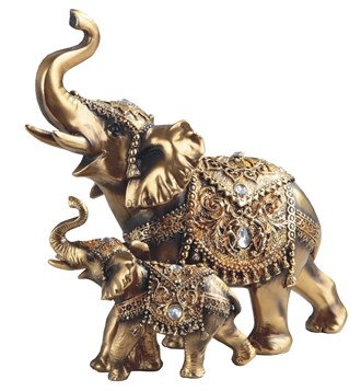 "9 1/4"", Golden Thai Elephant W/ Calf"