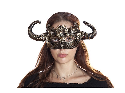 Gold Vintage Style Steampunk Mask With Horns And Floral Decoration