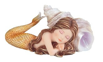 "Baby Mermaid with Shell Peach , 5 1/8"" wide"