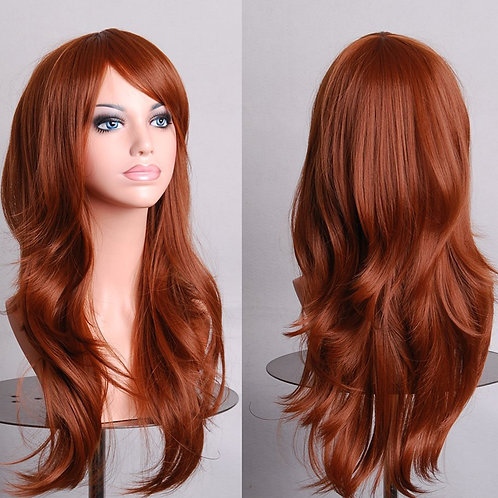 Red Brown Light Curly Wig Synthetic Medium