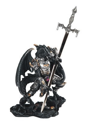 "5"", Black/Silver Dragon W/ Armor & Sword"