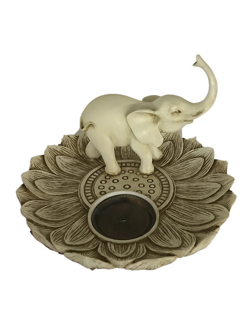 Lotus Elephant Incense & Cone Burner Resin & Bronze