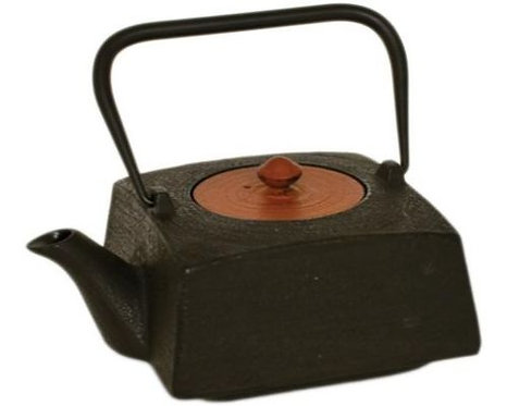 Cast Iron Tea Pot - Black W/ Red Lid