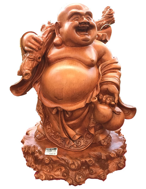 """16"""" High Wooden Color Happy Buddha"""