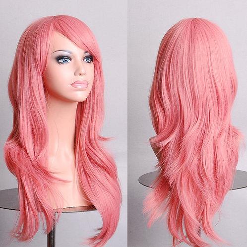 Light Pink Light Curly Wig Synthetic Medium
