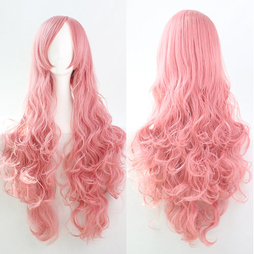 Pink Curly Synthetic Long