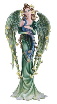 """Large-Scale Green Spring Angel with Peacock , 21 1/2"""" high"""