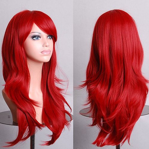 Red Light Curly Wig Synthetic Medium