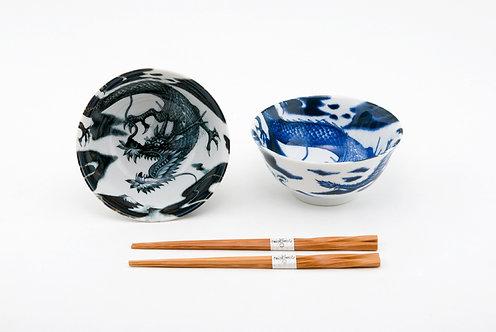 White & Black W/ Dragons 2PCS Bowel Set W/ Chopsticks
