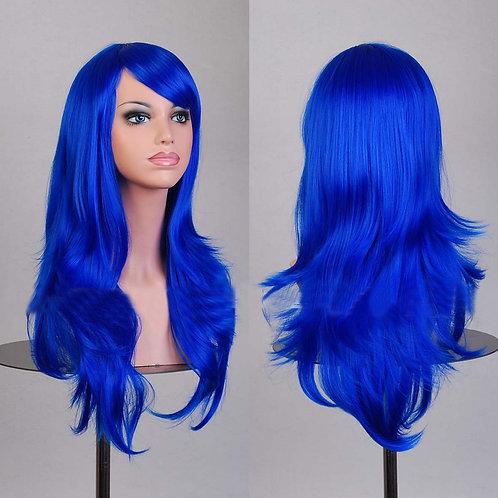 Royal Blue Light Curly Wig Synthetic Medium