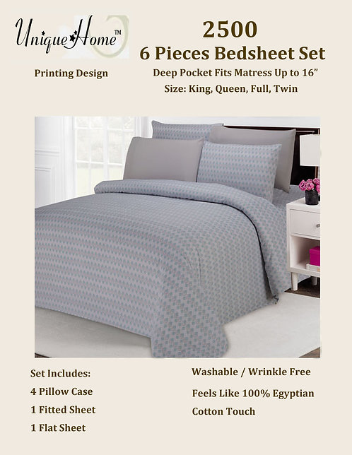 6Pcs 2500 Bedsheet Set (King Size)