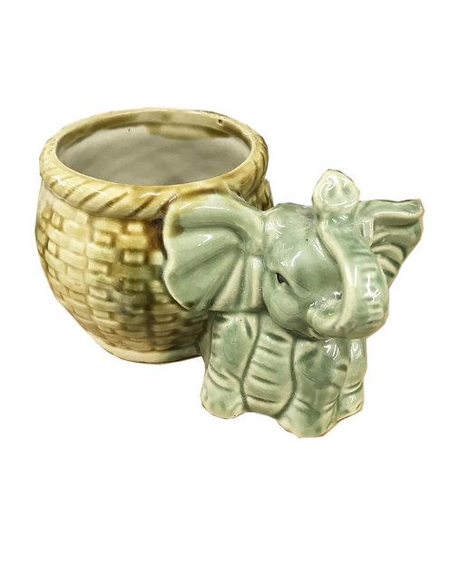 Elephant W/ Basket Bamboo Vase