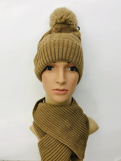 Knitting Winter Hat With Scarf Classic 3