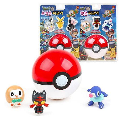 Pokemon Pokeball + Figure 3-Set