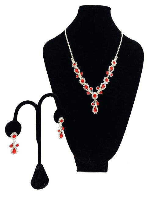 Necklace Set W/ Earrings Silver/Red Rhinestones No#37