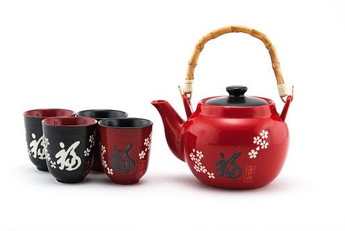 "Red Fuku ""Good Fortune"" Tea Set W/ Strainer & Wooden Handle"