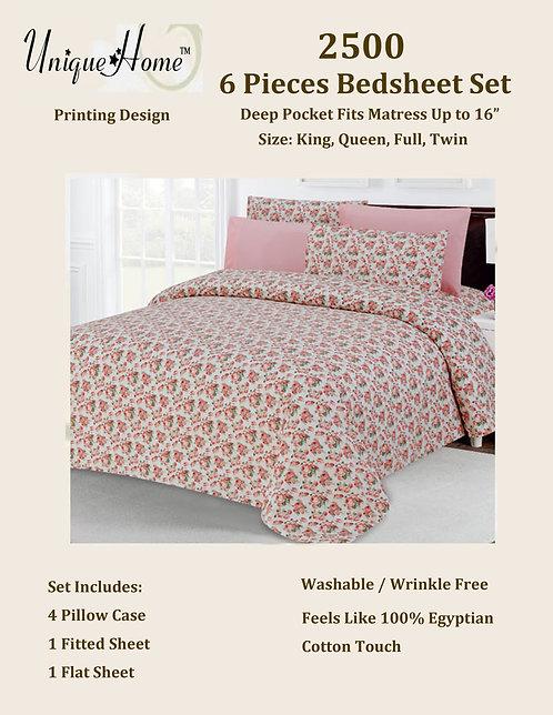 6Pcs 2500 Bedsheet Set (Queen Size)