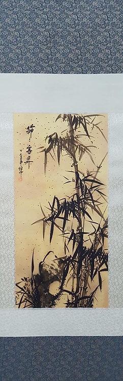 "38"" Chinese Fabric Scroll Bamboo"