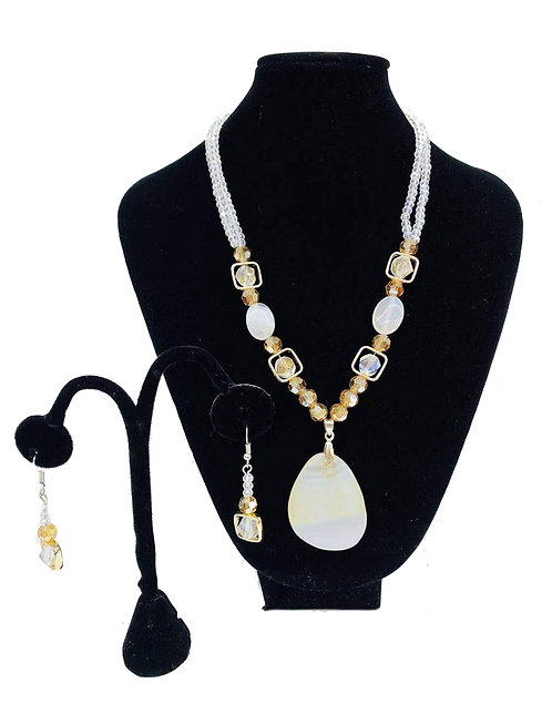 Necklace Set W/ Earrings Smoothed Stones No#73