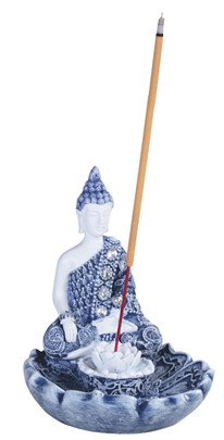 "4 1/4"", Blue/White Blue Buddha Incense Burner"