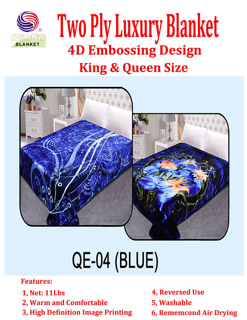 4D Embossing Two Ply Luxury Blanket (Queen Size)