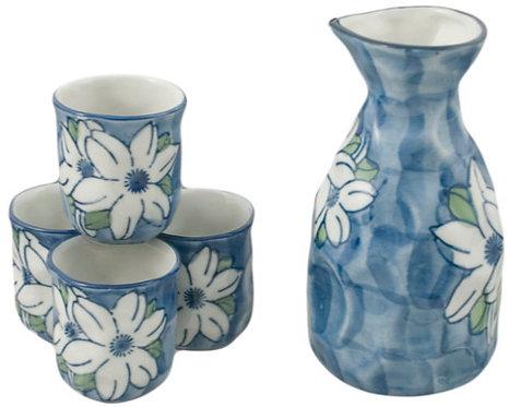 Blue White Flower Sake Set