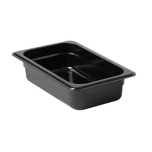 "Quarter Size 2 1/2"" , Deep Polycarbonate Food Pan, Black"