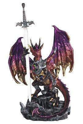 "Purple Dragon with Armor/Sword, 17"" high"