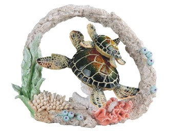 """Green Sea Turtle with Cub , 9 1/2"""" wide"""
