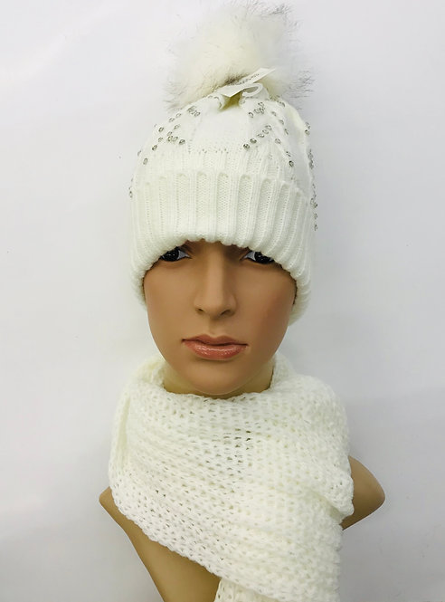 Knitting Winter Hat With Scarf Classic 4