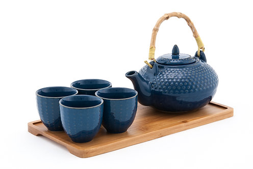 Blue Ceramic Tea Set W/ Strainer & Bamboo Handle & Tray