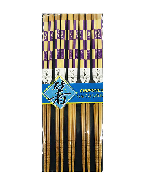 5PR Bamboo Chopsticks Purple Sea Horse/Fish