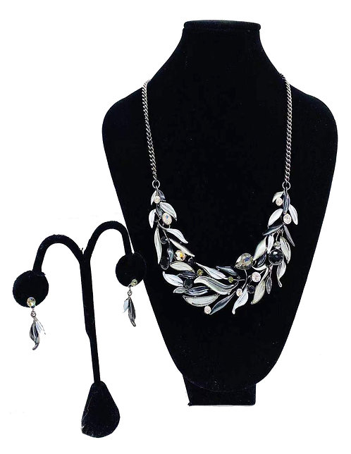 Necklace Set W/ Earrings Silver/Black Leaf No#55