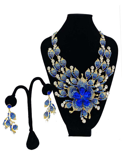 Necklace Set W/ Earrings Gold/Blue Flower No#61