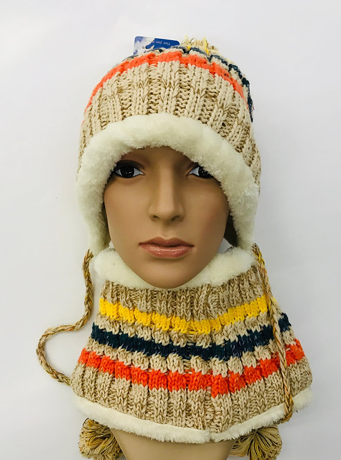 Knitting Winter Hat With Scarf Multi Color