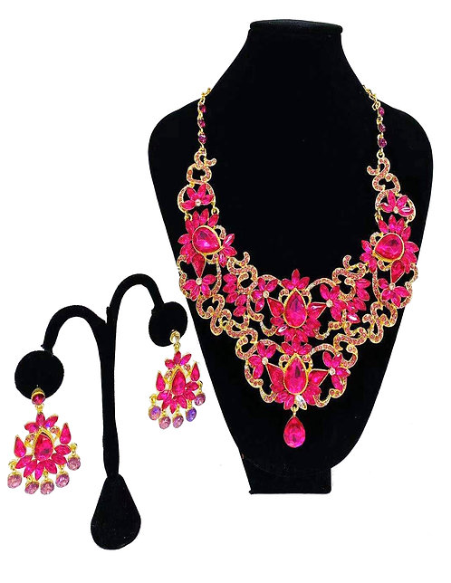 Necklace Set W/ Earrings Gold Pink Flower No#23