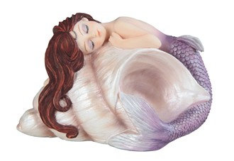 "Baby Mermaid on Shell Purple , 4 7/8"" wide"