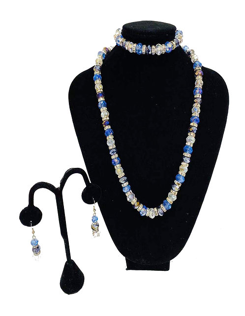 Necklace Set W/ Earrings & Bracelet Silver Stones No#16
